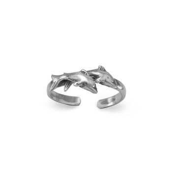 Sterling Silver Toe Ring with Two Dolphins