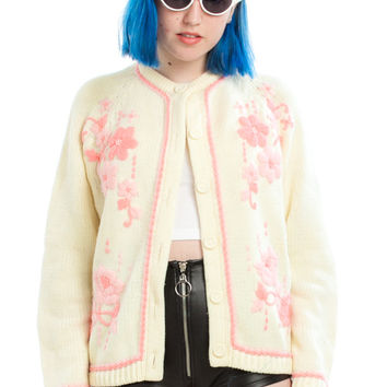 Vintage 80's Pretty in Pink Floral Cardigan - One Size Fits Many