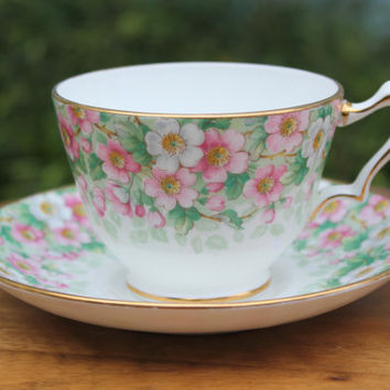 Crown Staffordshire Fine Bone China Maytime teacup and saucer