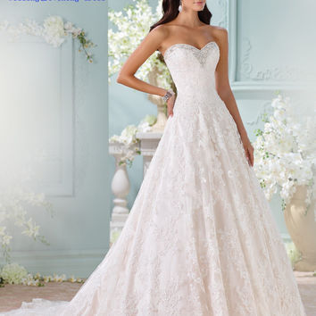 FF31 New Charming A-Line Sweetheart Lace Appliques Wedding Dress 2015 Bridal Gown Sweep Train