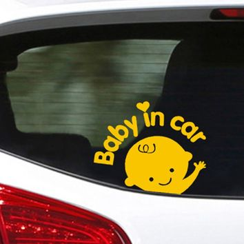 CARPRIE 6.7*5.9 inch waterproof Baby in Car Waving Safety Sign Car Decal Sticker Pattern Truck Side PVC Sticker Non-toxic