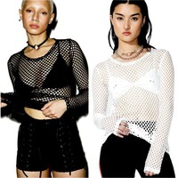 Womens Fishnet Exposed T-Shirt Hipsters Vintage Gothic Casual Tops