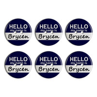 Brycen Hello My Name Is Plastic Resin Button Set of 6
