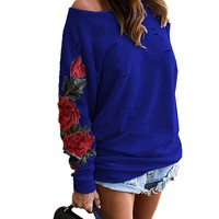 [14427] One Shoulder Ripped Embroidery Fall Rose Sweatshirt