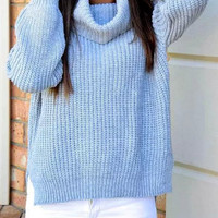 Blue High Neck Knitted Asymmetrical Sweater