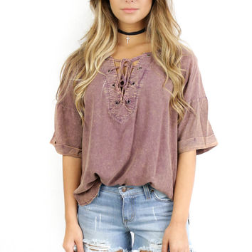 Rose Island Dusty Mauve Acid Wash Top