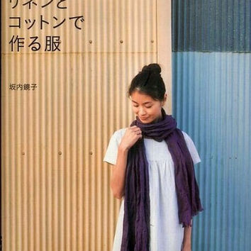 Linen & Cotton Natural Clothes - Japanese Craft Book - Kyoko Sakauchi - Sewing Pattern Dress, Womens Clothing - B224