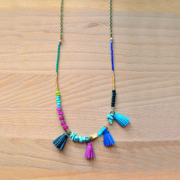 Long Beaded Necklace, Turquoise Leather Tassel Necklace
