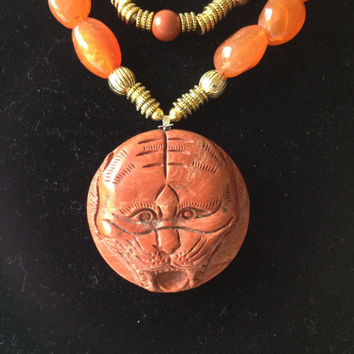 Two Strand Afghan Carnelian Necklace with Gold Accents and Tiger Pendant