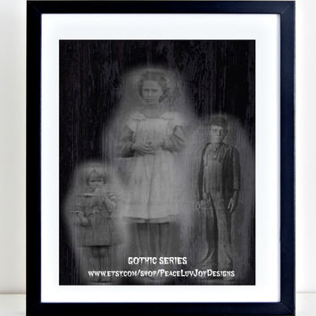 Gothic Printable Art. Phantoms.  Halloween Art. 8x10. Goth Print.  Spooky Ghosts