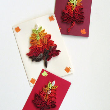 Autumn Set of 3 Quilling Cards With Quilled Leaves in Fall Colors, Handmade Greeting Card