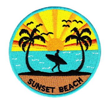 Vintage 80's Style Sunset Beach Surfing Surfer Shit Patch Badge for Cap Hat 9cm