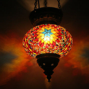 Boho Bohemian Decor Handmade Multicolour Turkish Mosaic Glass Hanging Lantern Lamp Tea Light Candle Holder