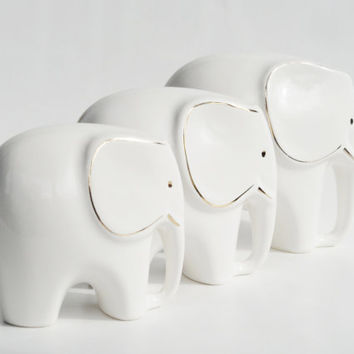 Complete set of 3 elephants in a row West German porcelain gold figurine white retro vintage eighties collectable ivory colour