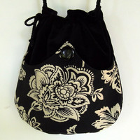 White Flower Tapestry Boho Bag  Black Drawstring by piperscrossing