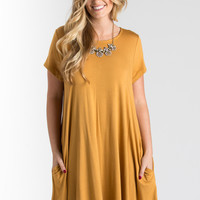 Lindsay Mustard Swing T-Shirt Dress with Pockets