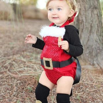 Newborn Baby Girls Christmas Bodysuit Infant Sleeveless Halter Backless Jumpsuit Baby Girls Fashion Sequins Clothes