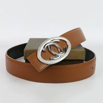 Perfect Chanel Woman Men Fashion Smooth Buckle Belt Leather Belt