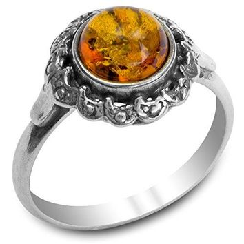 Amber Sterling Silver Victorian Style Ring