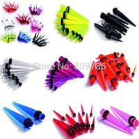 18pcs Punk Acrylic Tapers Ear Plugs Gauge Stretching Kit Piercing Women Men Body Jewelry 1.6-10mm 8Colors Hot Drop Free