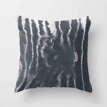 F-Tie dye- blue & white Throw Pillow by DuckyB