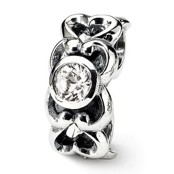Sterling Silver and CZ Scroll Heart Connector Bead Charm