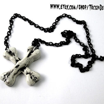 CROSSED BONES NECKLACE  deathrock gothic psychobilly horror punk halloween