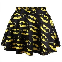 DCCKIX3 yellow skirt Batman Printed Skater Circle Skirt Dress Mini Dress = 1927917700