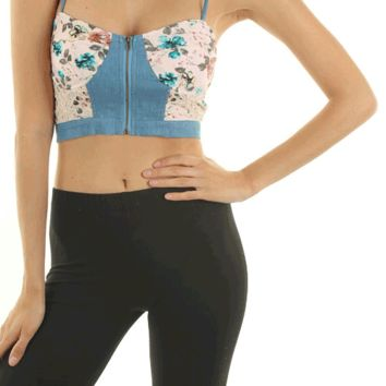 Keep your style flourishing in this Fields Of Floral Chambray Bustier Top. This beautiful bustier top features floral prints fabrication, lace & blue chambray combo, sweetheart neckline with gold tone zip closure, wire built in bra cup, adjustable spaghett