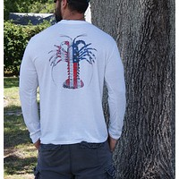 American Flag Spiny Lobster White Soft Performance Long Sleeve Tee