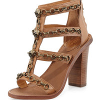 Paradise Leather Skull-Chain Sandal, New Nude