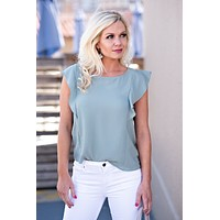 Melodie Ruffle Crew Neck Top : Moss
