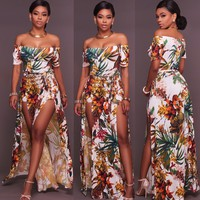 Floral Print Strapless Long Dress with Splits