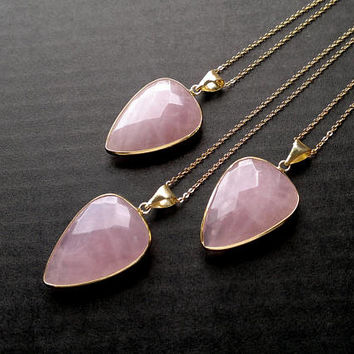 Rose Quartz Necklace Triangle Necklace Faceted Rose Quartz Pendant Geometric Necklace Pink Stone Necklace Gold Rose Quartz Jewelry Drop