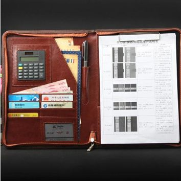 Leather document folder with Calculator