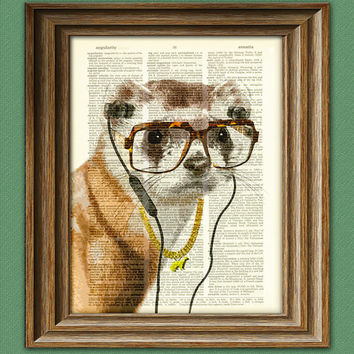 DJ Buck the Ferret Hip Hop mogul is listening to the hottest new act illustration beautifully upcycled dictionary page book art print