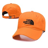 The North Face Trending Women Men Embroidery Sports Sun Hat Baseball Cap Hat Orange