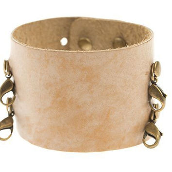 Ceramic Cream Wide Leather Cuff - Lenny and Eva