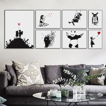 Banksy Black White Modern Abstract Pop Hipster A4 Art Print Poster Wall Picture Living Room Canvas Painting No Frame Home Decor