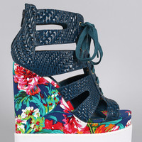 Privileged Caged Floral Wedge