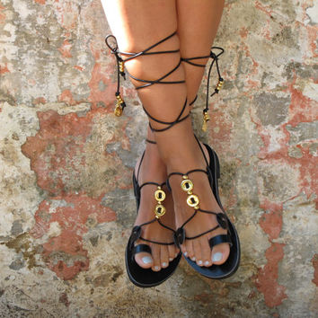 Greek Leather sandals, Lace up toe ring sandals. Custom color and  embellishments. HERA 03 NEW