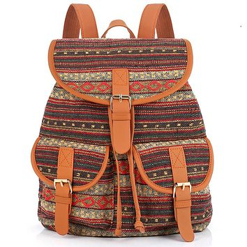 Sansarya 2017 Vintage Bohemian Thai Woven Boho Backpack School Bag Aztec Bagpack Rucksack Casual Daypack Tribal Drawstring Bag