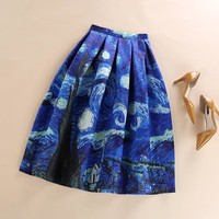 New 50s Vintage Van Gogh Starry Sky Oil Painting 3D Digital Print High Waist Skirt Rockabilly Tutu Retro Puff Skirt faldas mujer