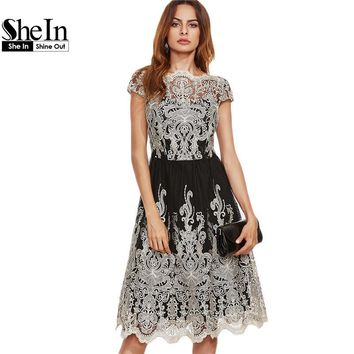 Shein Party Dresses Color Block Black Champagne Contrast Fit And Flare Embroidered Cap Sleeve Knee Length Mesh Elegant Dress - Beauty Ticks