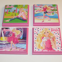 Barbie Room Wall Plaques - Set of 4  Barbie Doll Girls Room Decor - Barbie Wall Signs