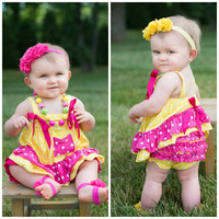 #01 Baby Ruffle Swing Set Sun Suit Yellow & Hot Pink Polka Dot