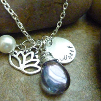Lotus Jewelry Personalized Lotus Necklace Mystic quartz Personalized Wire wrapped lotus jewelry
