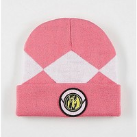 Pink Cuff Mighty Morphin Power Rangers Beanie - Spencer's
