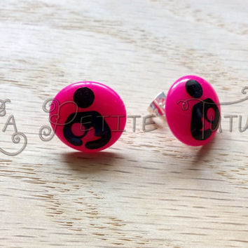 Nursing earrings, show your pride, breastfeeding, crunchie mommy, all natural, custom made, personize, custom colors, handmade, vinyl
