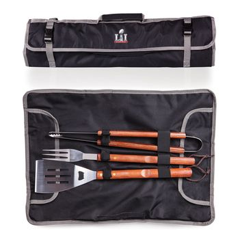Super Bowl 51 3-Pc BBQ Tote & Tools Set-Black Digital Print